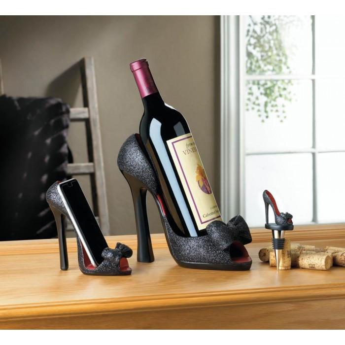 Black P Toe Shoe Wine Stopper