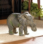 WEATHERED TIMEWORN ELEPHANT STATUE SCULPTURE