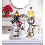 LIGHT POST SNOWMAN FIGURINE