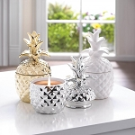 WHITE CERAMIC PINEAPPLE CANDLE