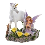 FAIRY WITH BUTTERFLY AND UNICORN  FOREST MAGIC FIGURINE