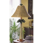 Palm Tree Table Lamp Bronze Base Rattan Shade Metal Finish