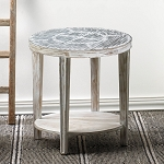 ACCENT TABLE SEWARD DISTRESSED ROUND WOOD SIDE TABLE