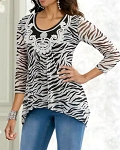Zebra Crochet Top White/Black