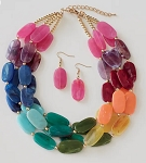 Multi-Strand Ovals Necklace/Earring Set