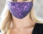 MASK SEQUIN GAUZE FACE-PURPLE/12PCS