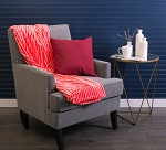 BLANKET THROW STRIPE RED 50X60
