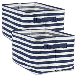 PE COATED HERRINGBONE WOVEN COTTON LAUNDRY BIN STRIPE FRENCH BLUE RECTANGLE LARGE 16x12.5x9.5 SET/2