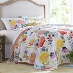 Full/Queen Flowers 100% Cotton Reversible Quilt Coverlet Bedspread Set